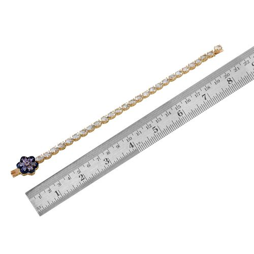 Espirito Santo Aquamarine (Ovl), Tanzanite and Blue Diamond Bracelet (Size 7.5) in 14K Gold Overlay Sterling Silver 11.010 Ct.