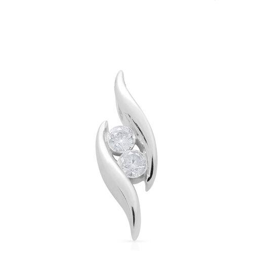 9K White Gold 0.20 Ct SGL Certified Diamond (I3/G-H) 2 Stone Pendant