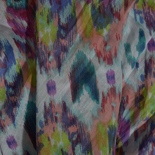 100% Cotton Red, Blue and Multi Colour Printed Scarf with Tassels (Size 210x180 Cm)