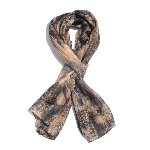 100% Mulberry Silk Black, Beige and Grey Colour Handscreen Printed Scarf (Size 180x100 Cm)