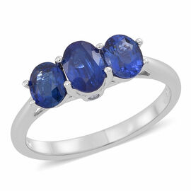 ILIANA 18K W Gold AAA Ceylon Blue Sapphire (Ovl), Diamond (SI/G-H) Ring 2.000 Ct.