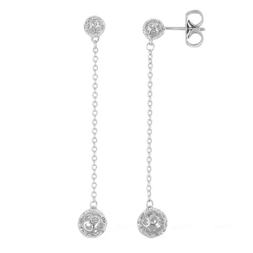 RACHEL GALLEY Rhodium Plated Sterling Silver Lattice Globe Earrings (with Push Back), Silver wt 3.82 Gms.
