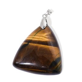 Tigers Eye Trillion Pendant in Rhodium Plated Sterling Silver 101.000 Ct.
