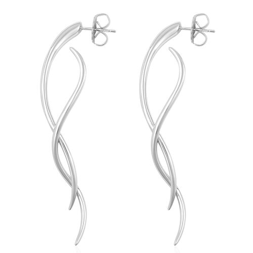 LucyQ SWISH Earrings (with Push Back) in Rhodium Plated Sterling Silver 11.16 Gms.