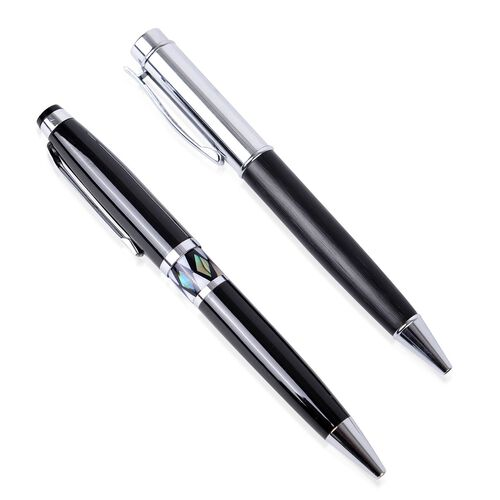 New Arrival - Set of 2 - Black Colour and Shell Adorned Pen (Black Ink) in a Box