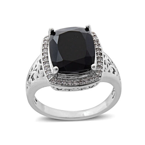 Boi Ploi Black Spinel (Cush 3.82 Ct), Simulated White Diamond Ring in Silver Bond 4.039 Ct.