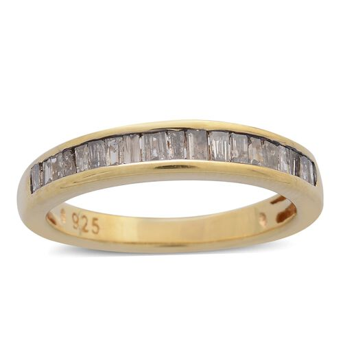 Natural Champagne Diamond (Bgt) Half Eternity Band Ring in 14K Gold Overlay Sterling Silver 0.750 Ct.