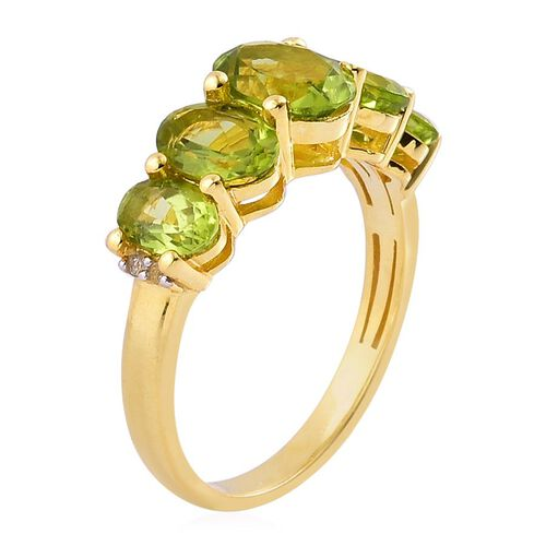 Hebei Peridot (Ovl 1.25 Ct), White Topaz Ring in Yellow Gold Overlay Sterling Silver 4.040 Ct.