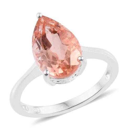 Morganite Colour Quartz (Pear) Solitaire Ring in Sterling Silver 3.250 Ct.