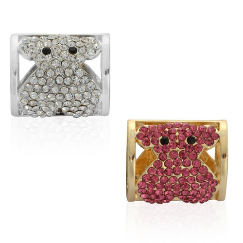 (Option 1) Set of 2 - Black, Pink and White Austrian Crystal Cufflink in Silver and Gold Tone