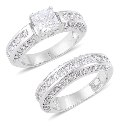 Set of 2 - AAA Simulated White Diamond Ring in Silver Tone