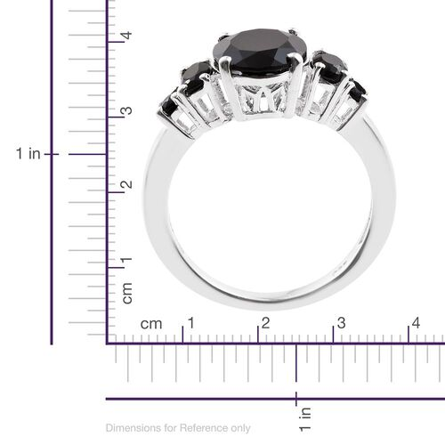 Boi Ploi Black Spinel (Ovl 3.60 Ct) Ring in Sterling Silver 4.500 Ct.