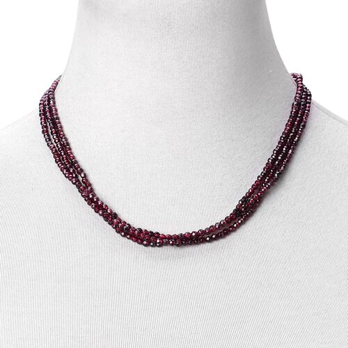 One Time Deal-Rhodolite Garnet Triple Strand Necklace with Magnetic Clasp Silver Plated (Size 19) 175.000 Ct.