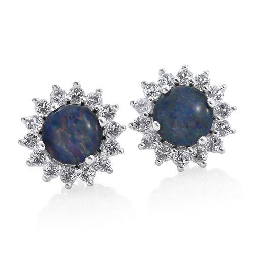 Australian Boulder Opal (Rnd), White Topaz Stud Earrings (with Push Back) in Platinum Overlay Sterling Silver 4.250 Ct.