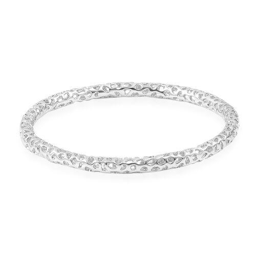 RACHEL GALLEY Rhodium Plated Sterling Silver Lattice Bangle (Size 7.75/ Medium), Silver wt. 18.49 Gms.