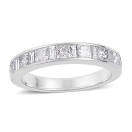 RHAPSODY 950 Platinum IGI Certified Diamond (Princess Cut and Bgt) (VS/E-F) Half Eternity Band Ring 1.000 Ct.