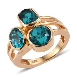 Capri Blue Quartz (Rnd 2.25 Ct) Ring in 14K Gold Overlay Sterling Silver 5.500 Ct.