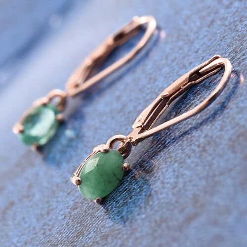 Kagem Zambian Emerald 1 Carat Silver Lever Back Earrings in Rose Gold Overlay