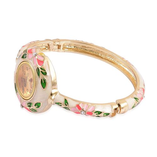 STRADA Japanese Movement Golden Sunshine Dial with White Austrian Crystal Floral Pattern White Enameled Water Resistant Bangle Watch in Gold Tone