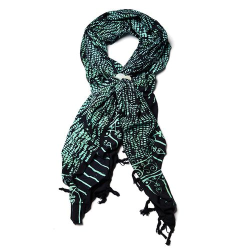 Royal Bali Collection Black Rayon Scarf (Size 62x46 in)