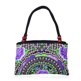 SHANGHAI COLLECTION Black, Purple and Multi Colour Floral Embroidered Tote Bag with Beads in Handle (Size 27X17X9.5 Cm)