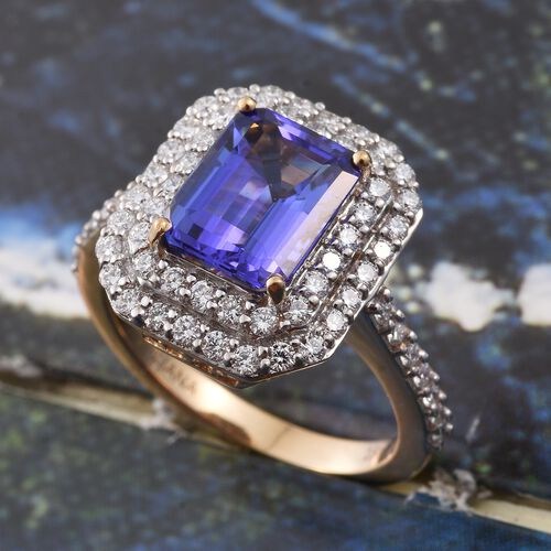 ILIANA 18K Yellow Gold 3.35 Ct AAA Octagon Tanzanite Ring with 0.90 Ct Diamond (SI/G-H), Gold Wt 7 Gm