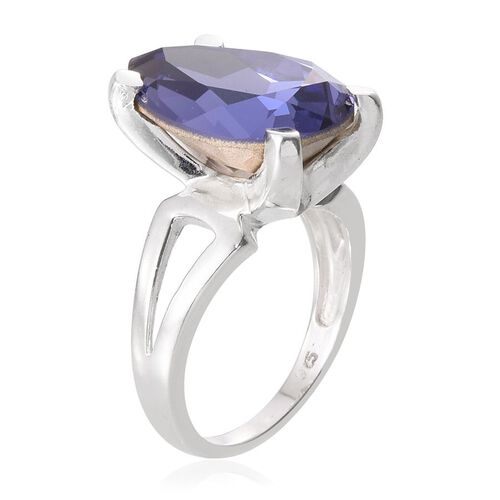 J Francis Crystal from Swarovski - Tanzanite Colour Crystal (Pear) Solitaire Ring in Sterling Silver