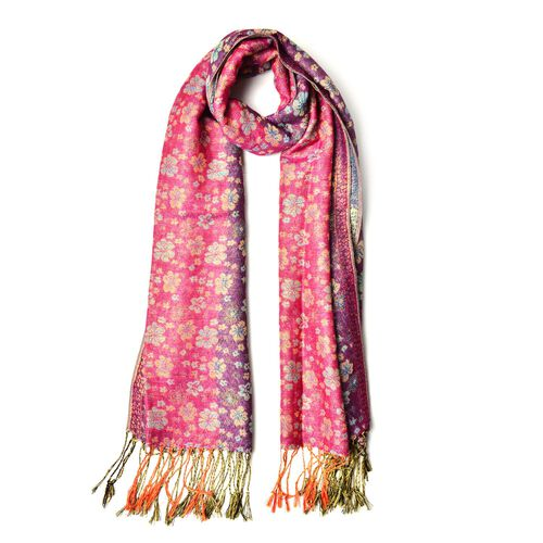 Red, Blue and Black Colour Small Plum Blossom Pattern Pink and Purple Colour Scarf with Fringes (Size 170x70 Cm)