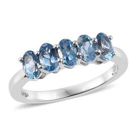 ILIANA 18K White Gold 1.15 Carat AAA Santa Maria Aquamarine  5 Stone Ring