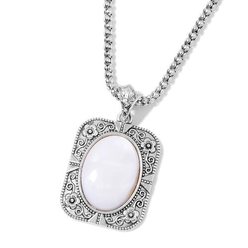Set of 3 - Organic White Shell and AAA Austrian Crystal Floral Pendant With Chain (Size 20 with 2 inch Extender), Bracelet (Size 7.50) and Hook Earrings 115.000 Ct.