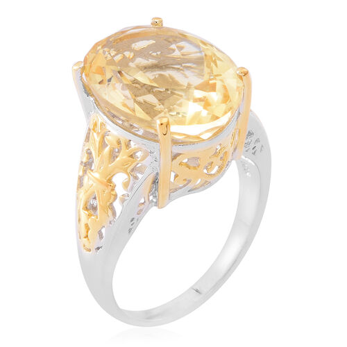 Rare AAA Uruguay Citrine (Ovl) Ring in Yellow Gold and Rhodium Plated Sterling Silver 10.000 Ct.