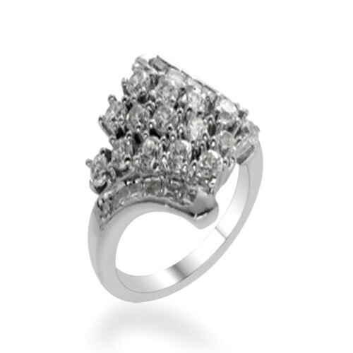 ELANZA AAA Simulated Diamond (Rnd) Ring in Rhodium Plated Sterling Silver 2.000 Ct.
