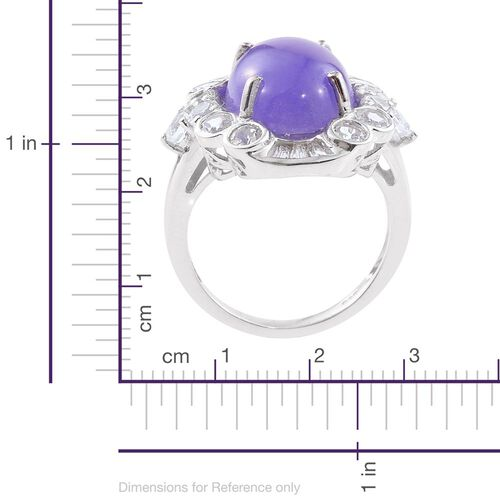 Purple Jade (Ovl 10.75 Ct), White Topaz Ring in Platinum Overlay Sterling Silver 13.000 Ct.