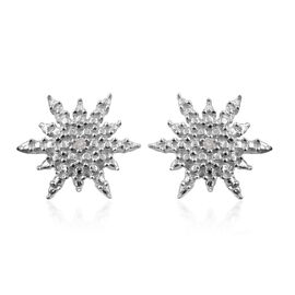 Diamond (Rnd) Snowflake Stud Earrings (with Push Back) in Platinum Overlay Sterling Silver