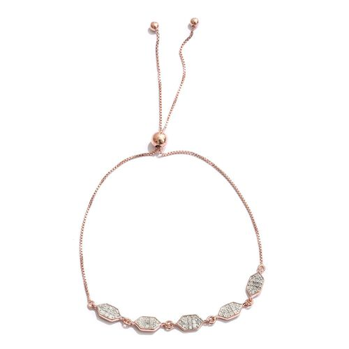 Diamond 0.28 Ct Honeycomb Adjustable Bracelet in Rose Gold Overlay Sterling Silver (Size 6.5 to 8.5)