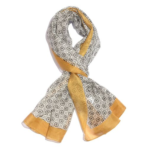 100% Mulberry Silk Black, Golden and White Colour Handscreen Printed Scarf (Size 200X170 Cm)