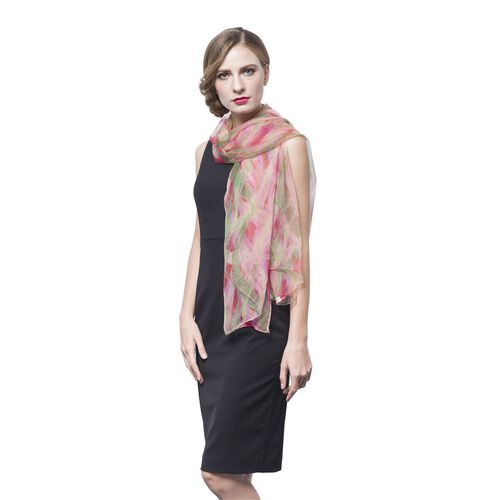 40% Mulberry Silk Pink, Green and Multi Colour Wavy Stripes Pattern Scarf (Size 170X105 Cm)