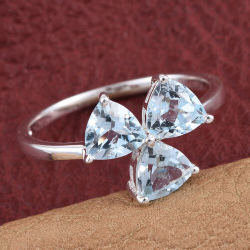 Sky Blue Topaz (Trl) Trilogy Ring in Sterling Silver 2.500 Ct.