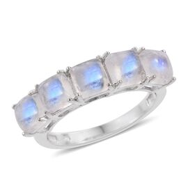 Rainbow Moonstone (Sqr) 5 Stone Ring in Platinum Overlay Sterling Silver 4.000 Ct.