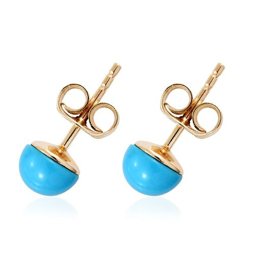 9K Yellow Gold 1.50 Carat Arizona Sleeping Beauty Turquoise Round Ball Stud Earrings (with Push Back)