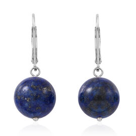 Super Bargain Price-Lapis Lazuli (Rnd) Lever Back Earrings in Rhodium Plated Sterling Silver 24.000 Ct.