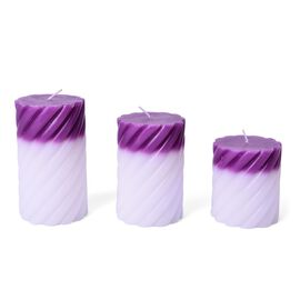 Set of 3 - Purple and White Colour Magic Colour Changing LED Scented Rose Fragrance Wax Candle (Size 12x7 Cm, 10x7 and 7.5x7 Cm)