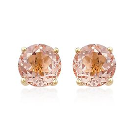 9K Yellow Gold AAA Marropino Morganite (Rnd) Stud Earrings (with Push Back) 4.750 Ct.