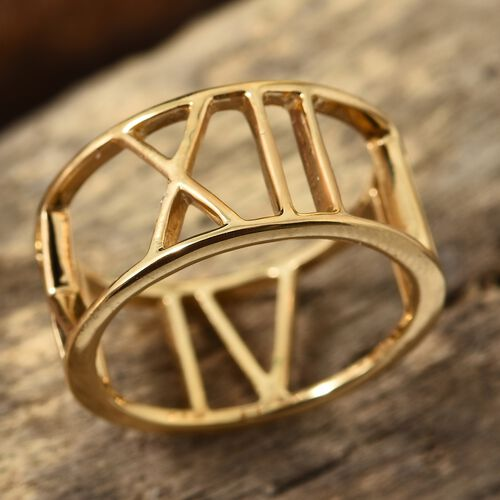 14K Gold Overlay Sterling Silver Roman Number Inspired Band Ring, Silver wt 3.25 Gms.