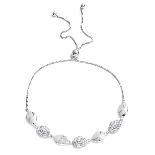 Diamond (Rnd) Bracelet (Size 6.5 to 8.5) in Platinum Overlay Sterling Silver 0.450 Ct.