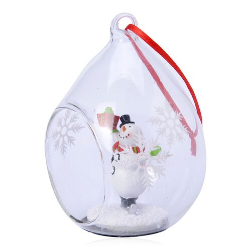 Home Decor - Set of 2 - Snowflake Glass Ornament with a Snowman inside (Size 11X7 Cm)