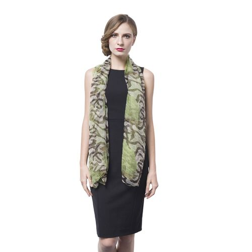 40% Mulberry Silk Green, Black and White Colour Floral Pattern Scarf (Size 170X105 Cm)