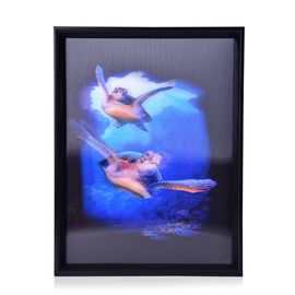 Wall Decor - Sea Turtles Framed 4D Wall Painting (Size 41x31.15x2 Cm)