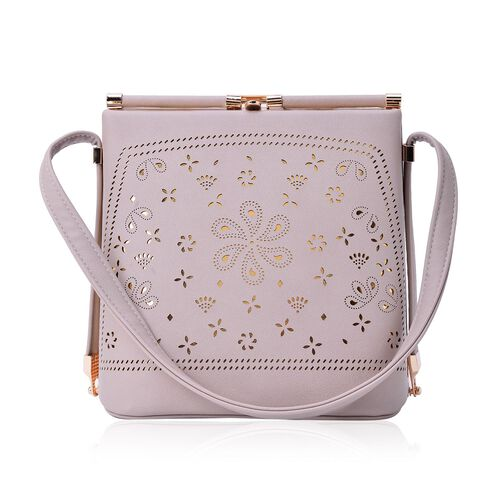 Laser Cut Floral Pattern Cream Colour Clutch Bag With Unique Adjustable Strap (Size 20x20x15 Cm)