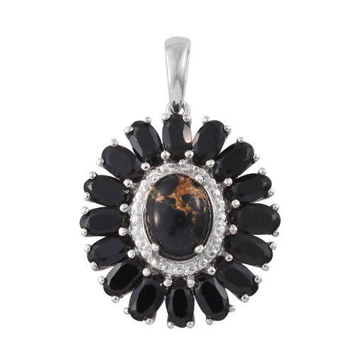 Arizona Mojave Black Turquoise (Ovl 1.54 Ct), Boi Ploi Black Spinel and Diamond Pendant in Platinum Overlay Sterling Silver 6.750 Ct.